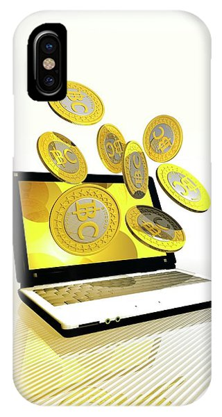 Bitcoins And Laptop IPhone Case