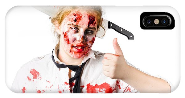 Ghastly iPhone Case - Bloody Woman With Cleaver In Head by Jorgo Photography - Wall Art Gallery