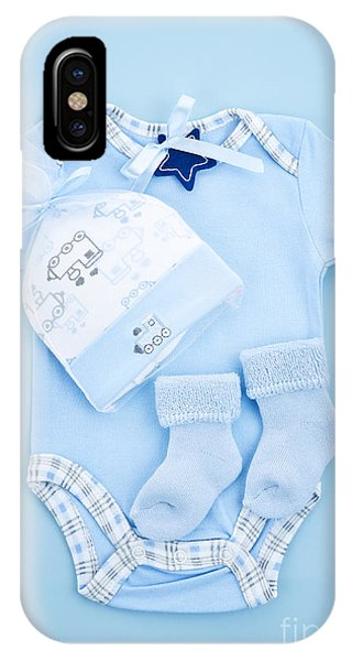 Sleeper iPhone Case - Blue Baby Clothes For Infant Boy by Elena Elisseeva