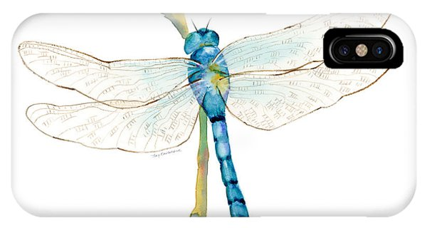 Insect iPhone Case - Blue Dragonfly by Amy Kirkpatrick