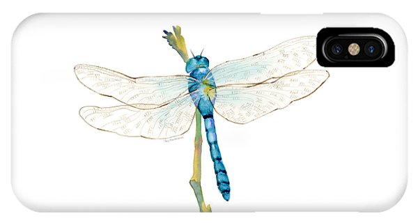 Insects iPhone Case - Blue Dragonfly by Amy Kirkpatrick