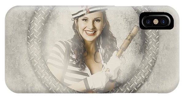 Navigation iPhone Case - Boating Pin-up Woman On Nautical Shipping Voyage by Jorgo Photography - Wall Art Gallery