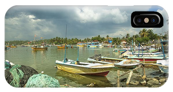 Tropes iPhone Case - boats in the harbour of Mirissa on the tropical island of Sri Lanka by Gina Koch