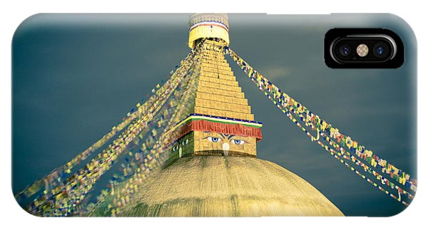 Bodhnath Stupa At Night In Kathmandu IPhone Case