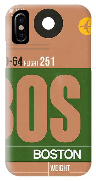 Travel iPhone Case - Boston Luggage Poster 1 by Naxart Studio