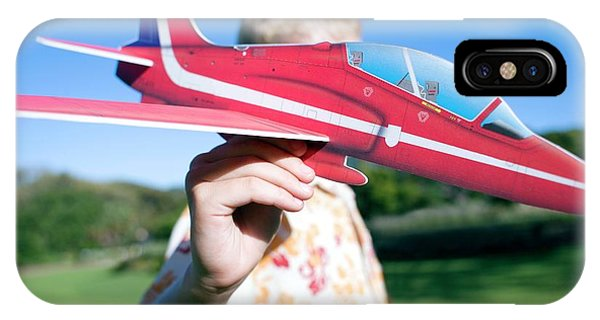 Human Interest iPhone Case - Boy Playing With A Model Aeroplane by Ian Hooton/science Photo Library