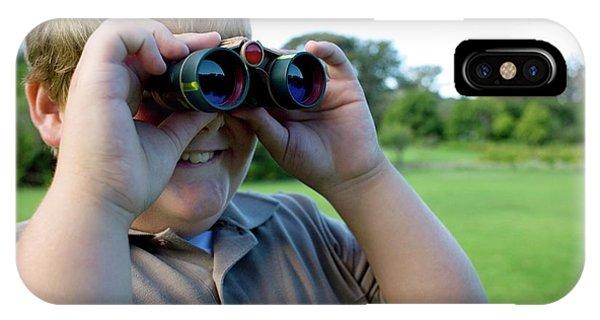 Human Interest iPhone Case - Boy Using Binoculars by Ian Hooton/science Photo Library