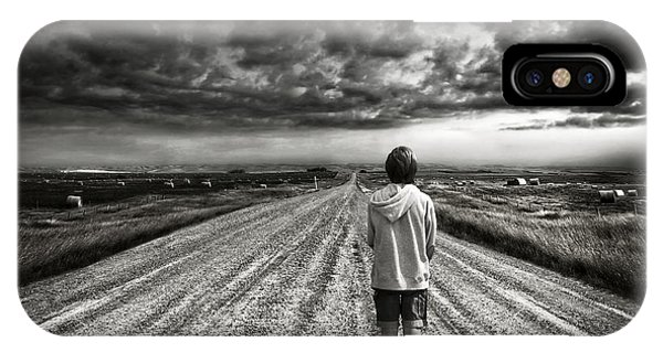 Boy Walking On Dark Lonely Road In Early Evening  IPhone Case