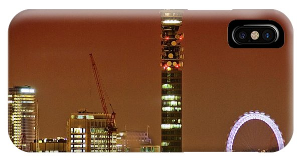 London Eye iPhone Case - Bt Tower And The London Eye by Gustoimages/science Photo Library