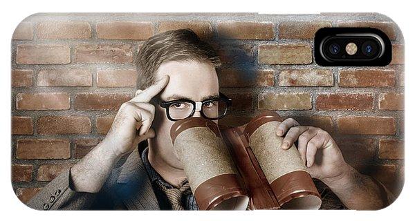 Business Spy Looking Through Innovative Binoculars IPhone Case