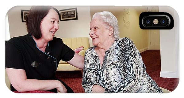 Assisted Living iPhone Case - Care Assistant With Elderly Woman by John Cole/science Photo Library