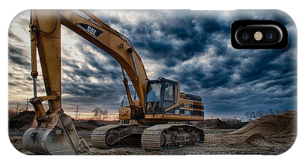 Construction iPhone Case - Cat Excavator by Mike Burgquist