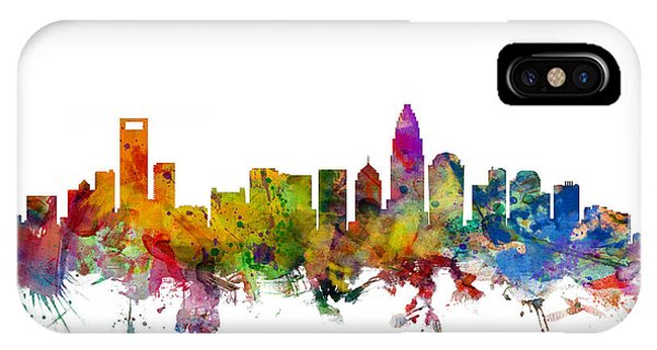 North Carolina iPhone Case - Charlotte North Carolina Skyline by Michael Tompsett