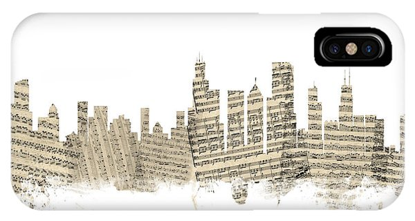 Chicago Skyline iPhone Case - Chicago Illinois Skyline Sheet Music Cityscape by Michael Tompsett