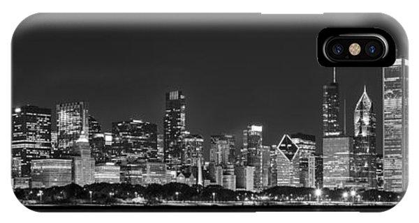 Chicago Skyline At Night Black And White Panoramic IPhone Case
