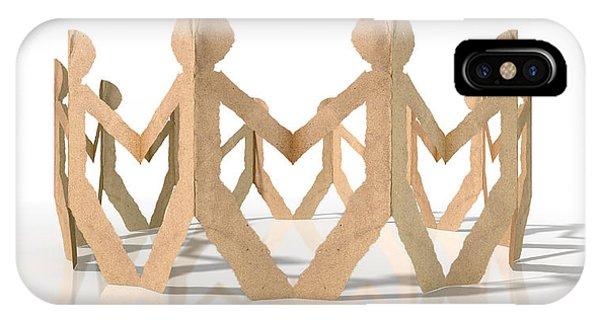Cutout iPhone Case - Circle Of Cutout Paper Cardboard Men by Allan Swart