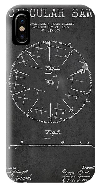 Circular Saw Patent Drawing From 1899 IPhone Case