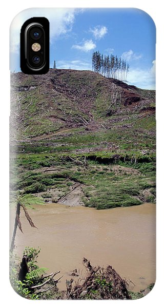 Cleared Forest Beside A Sediment-laden River Phone Case by Simon Fraser/science Photo Library