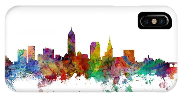 Usa iPhone Case - Cleveland Ohio Skyline by Michael Tompsett