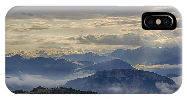 Cloudy Mountain Sunset. Italy IPhone Case