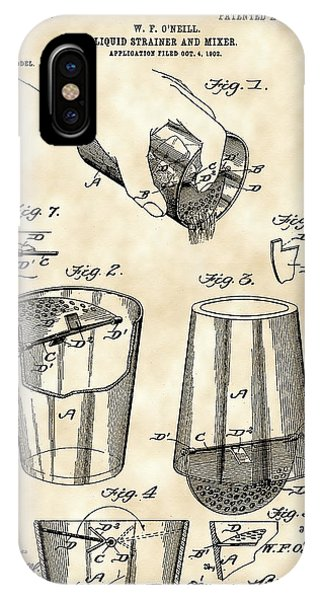 Cocktail Mixer And Strainer Patent 1902 - Vintage IPhone Case