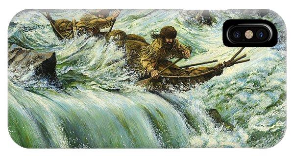 Overcurrent - Frontiersmen In Canoe In Wild Rapids IPhone Case