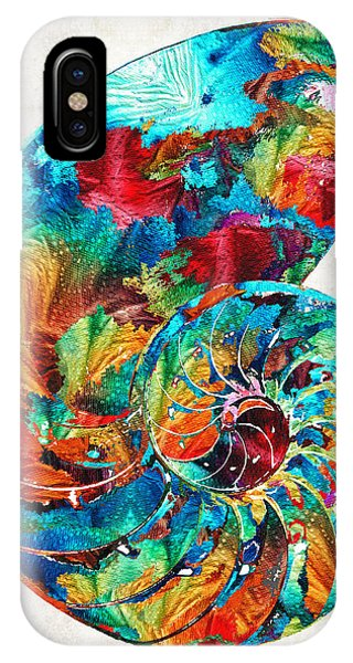 Primary Colors iPhone Case - Colorful Nautilus Shell By Sharon Cummings by Sharon Cummings
