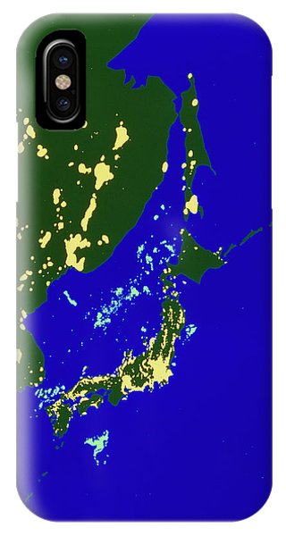 Squid iPhone Case - Colour-coded Satellite Image Of Japan By Night by Copyright W.t. Sullivan Iii/science Photo Library