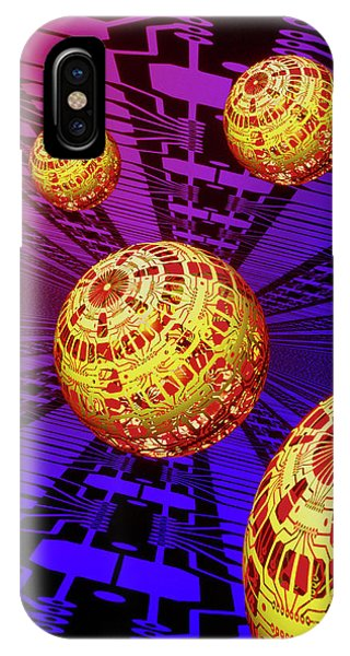 Computer Artwork Of Spheres Covered In Circuits Phone Case by Mehau Kulyk/science Photo Library
