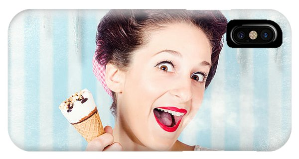 Cool Pin-up Woman In Cold Freezer With Ice-cream IPhone Case