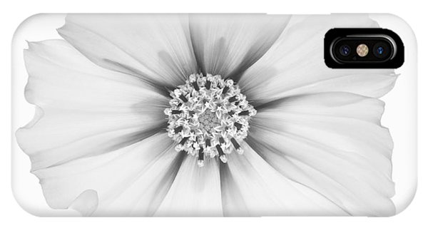 Cosmos Flower In Black And White. Phone Case by Rosemary Calvert