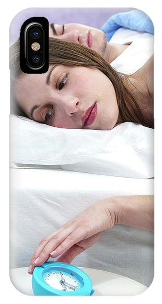Couple Woken By Alarm Clock Phone Case by Lea Paterson/science Photo Library