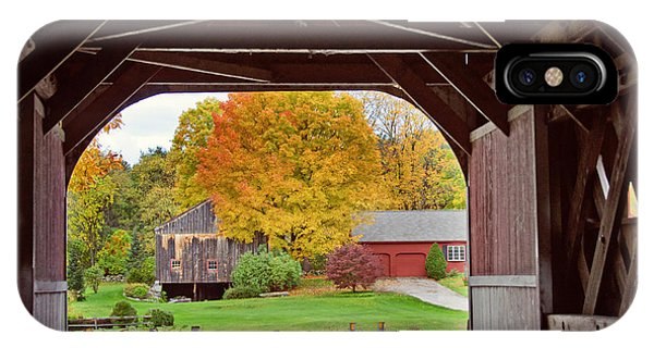 Covered Bridge In Autumn IPhone Case