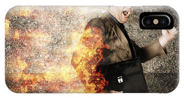 Quick iPhone Case - Crazy Businessman Running Engulfed In Fire. Late by Jorgo Photography - Wall Art Gallery