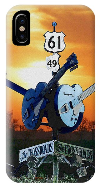Crossroads Sunset  Blues Highway 61 IPhone Case