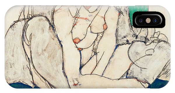Impressionistic iPhone Case - Crouching Woman With Green Headscarf by Egon Schiele