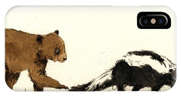 Brown iPhone Case - Cub Bear Playing With Skunk by Juan  Bosco