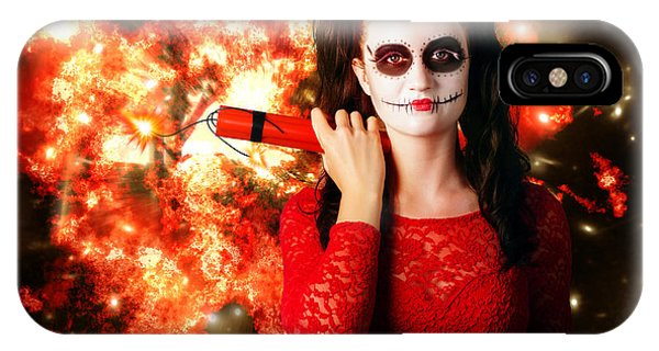Flammable iPhone Case - Dangerous Sugarskull Bomber Holding Dynamite by Jorgo Photography - Wall Art Gallery