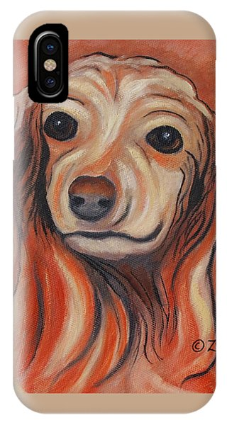 IPhone Case featuring the painting Daschound by Karen Zuk Rosenblatt