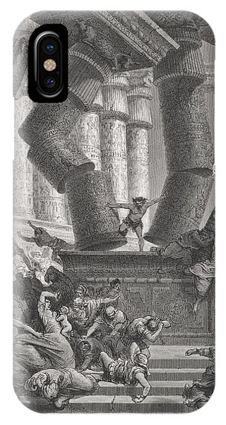 Columns iPhone Case - Death Of Samson by Gustave Dore