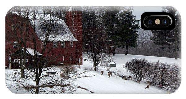 Deer Feeding Below The Barn Phone Case by Willy  Nelson