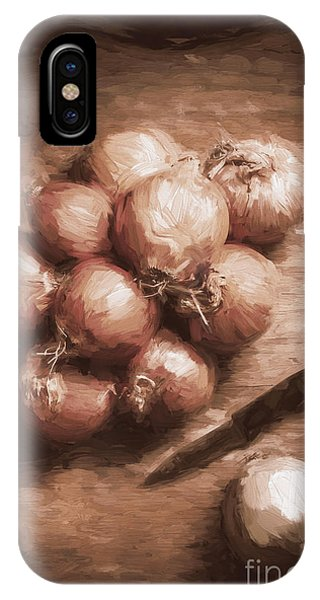 Ingredient iPhone Case - Digital Painting Of Brown Onions On Kitchen Table by Jorgo Photography - Wall Art Gallery