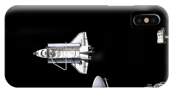 International Space Station iPhone Case - Discovery Departing The Iss by Nasa/science Photo Library