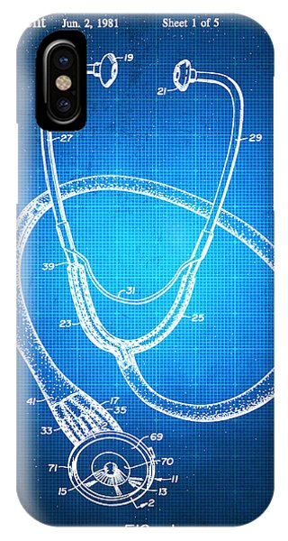 Technical iPhone Case - Doctor Stethoscope 1 Patent Blueprint Drawing by Tony Rubino