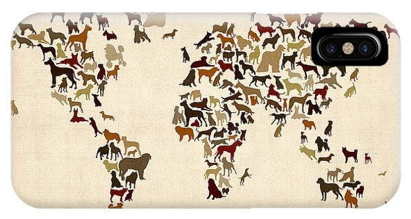 Old World iPhone Case - Dogs Map Of The World Map by Michael Tompsett