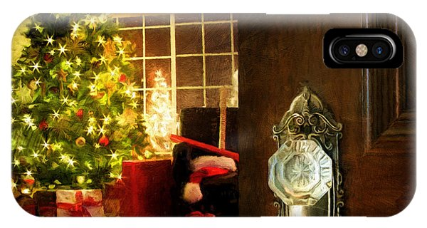 Door Opening Into A Christmas Living Room Digital Painting IPhone Case
