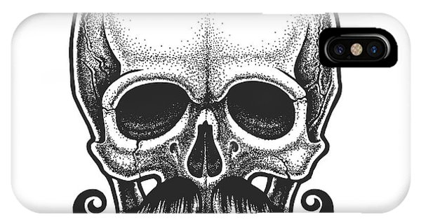 Dotwork Styled Skull With Moustache Phone Case by Mr bachinsky