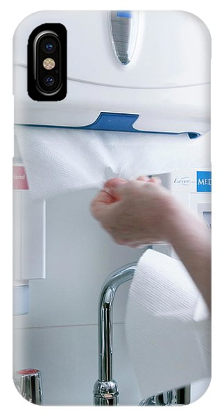 Dispenser iPhone Case - Drying Hands by Gustoimages/science Photo Library