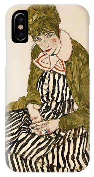 Impressionistic iPhone Case - Edith With Striped Dress Sitting by Egon Schiele