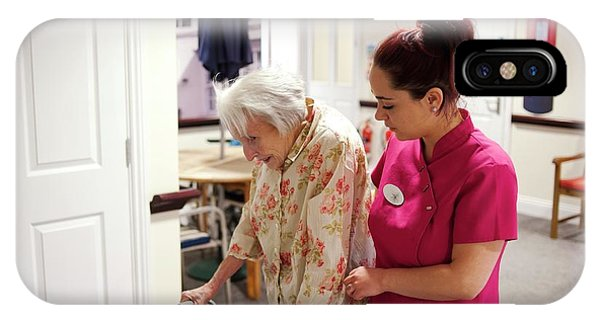 Assisted Living iPhone Case - Elderly Woman With Carer by John Cole/science Photo Library